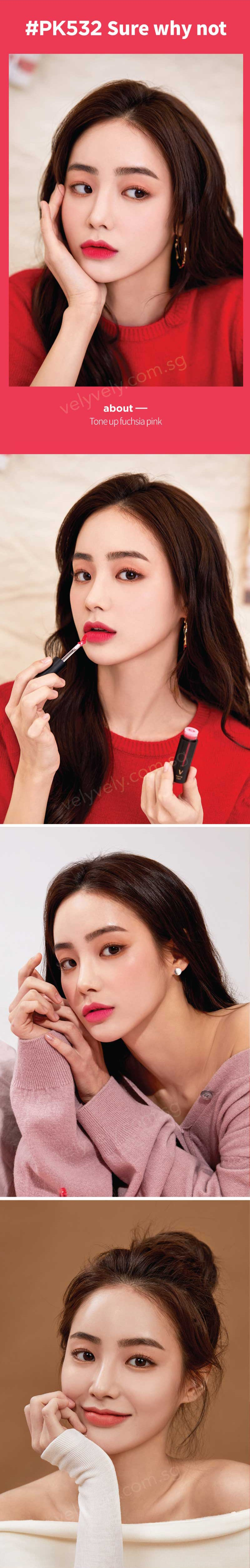 Interested to see how it looks on different styles and looks? Our Vely Model Hong Suzu uses the Vely Vely Matte Tint Lipstick for different looks!