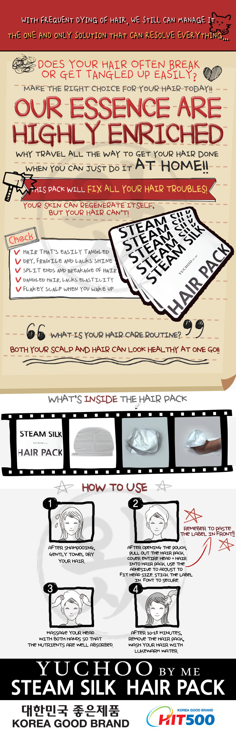 Here is a tutorial on how to use our Yuchoo Hair Pack which is capable of solving your hair problems!