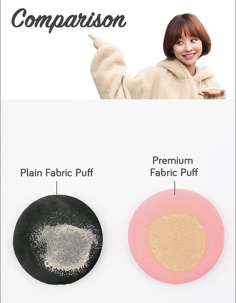 Let's compare the difference of another brand's cushion puff with the Vely Vely Aura Glow Cushion!