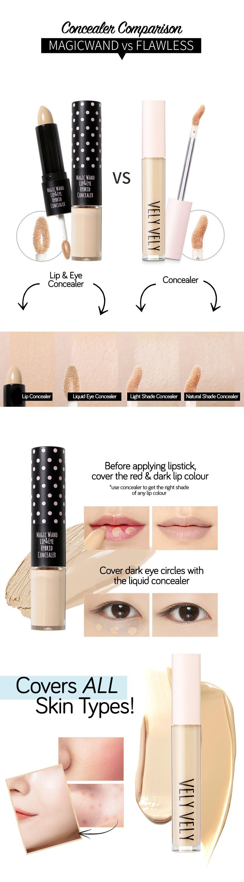 Check out the difference between the Magic Wand Lip and Eye Concealer and IM Custom Flawless Concealer