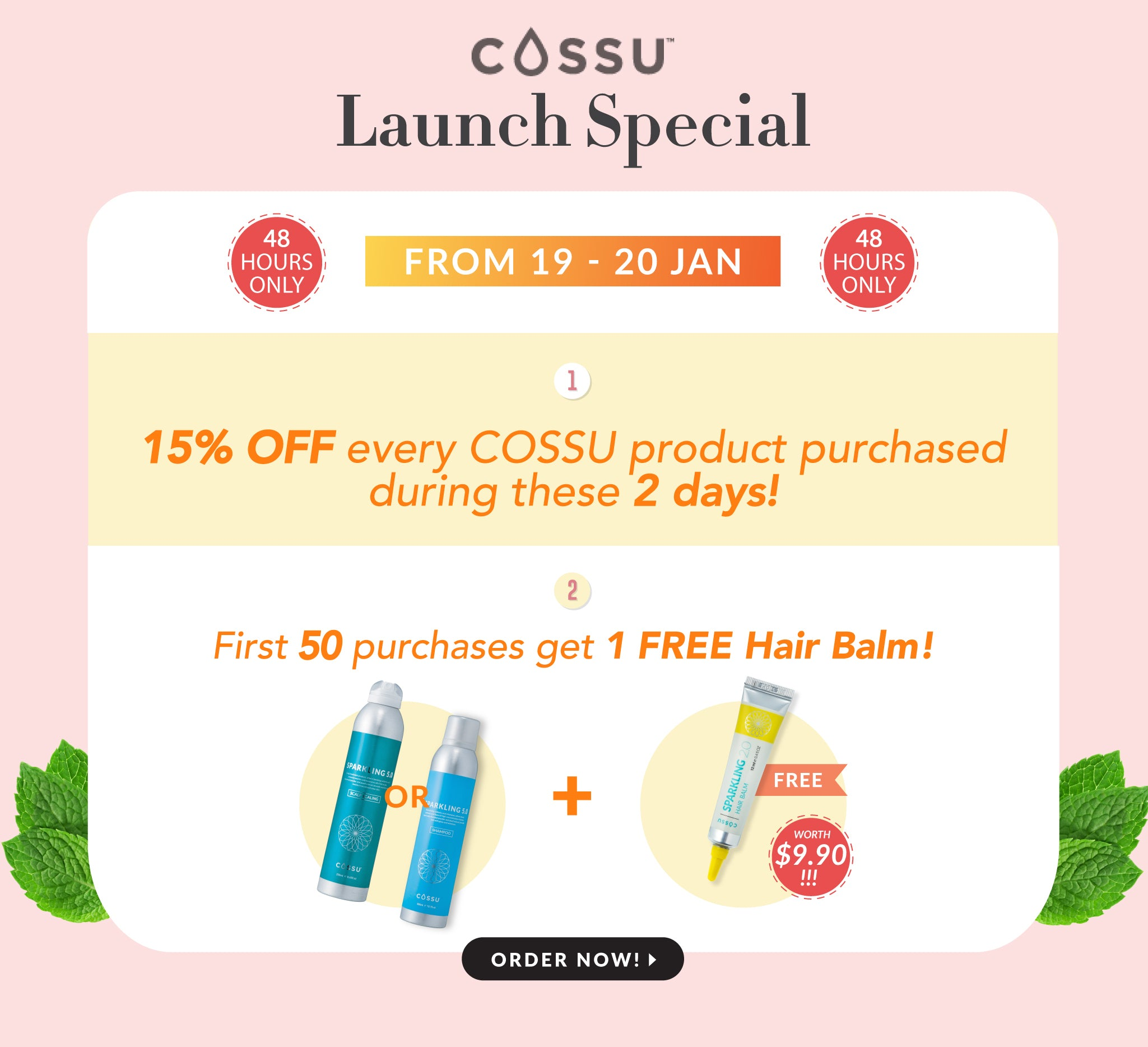 Get our Launch Promotion of 15% ALL Cossu products for this 48 hours! 1st 50 will get a hair balm free!