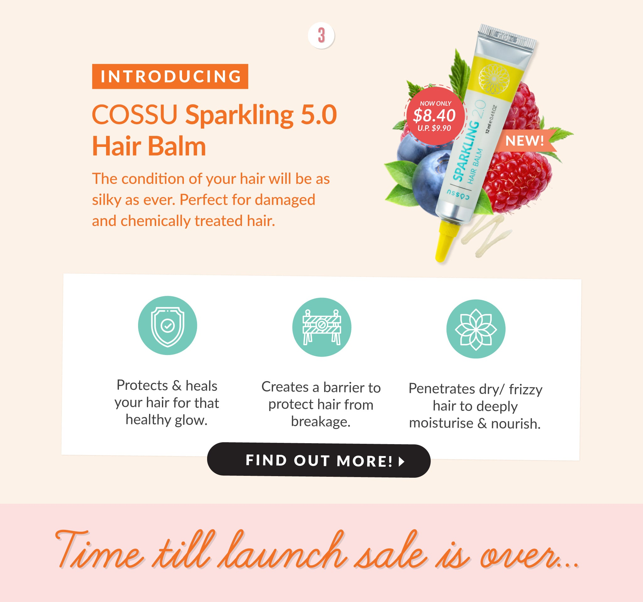 Cossu Sparkling Hair Balm - Repair damaged, bleached, dry or chemically treated hair.