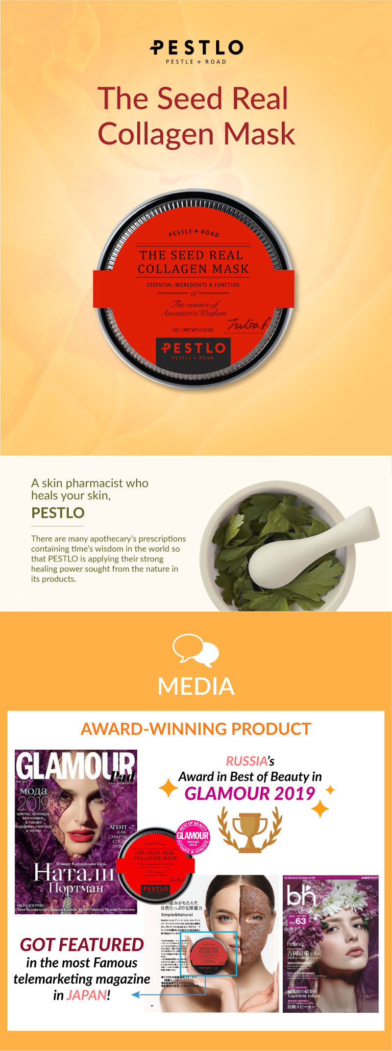 Pestlo The Real Seed Collagen Mask. Try our award winning face mask today. Made with ingredients from the east and the west