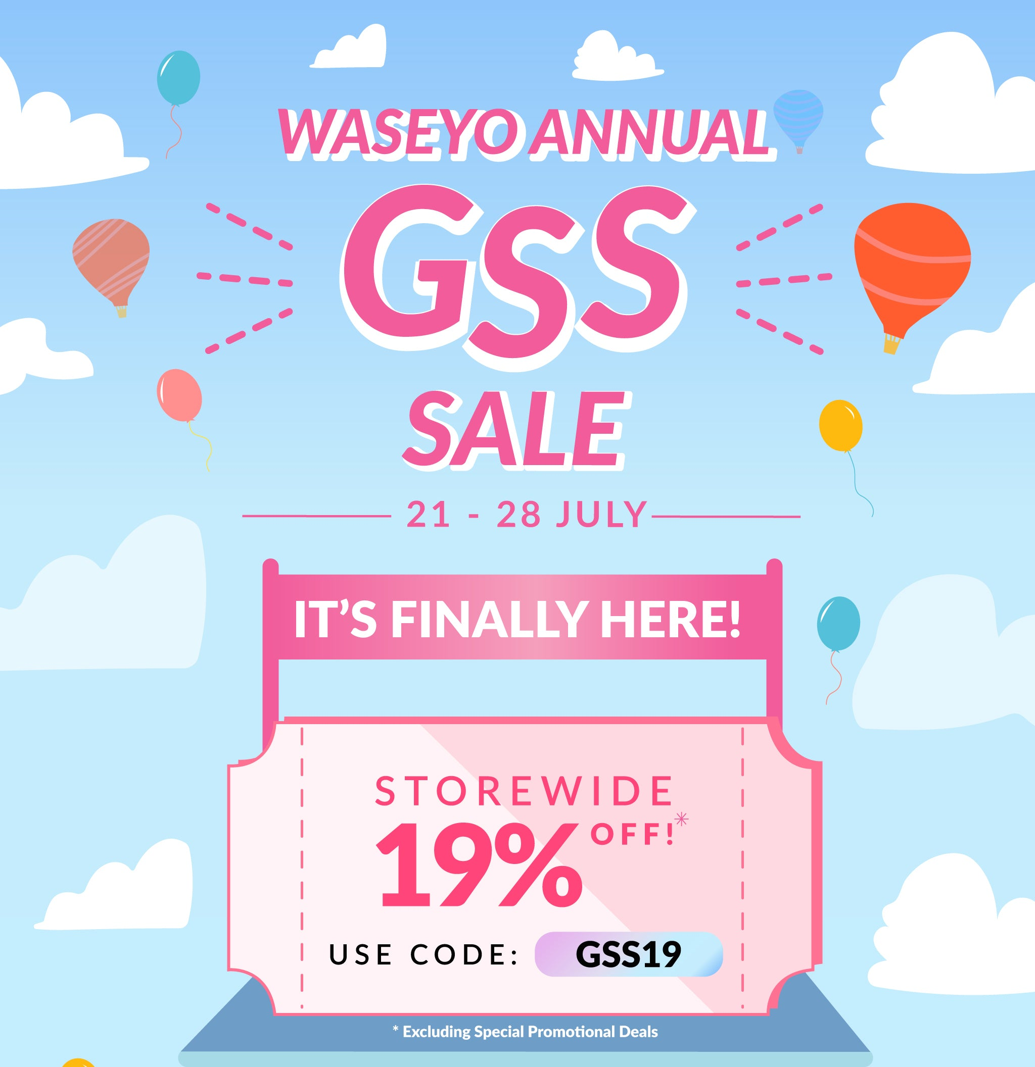 Waseyo Annual GSS Sale is now here! Get 19% OFF Storewide now!