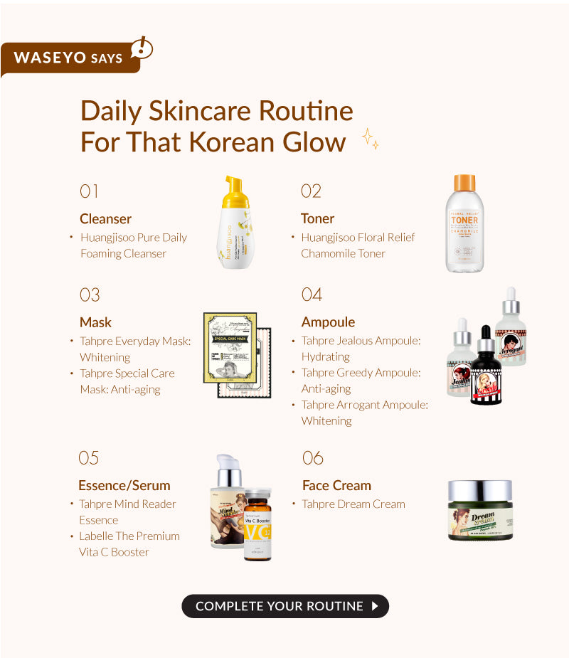 Here is Waseyo's guide to your complete Korean Skincare Regime. Do check our our other best selling Korean Skincare products that will amaze you and give you excellent results