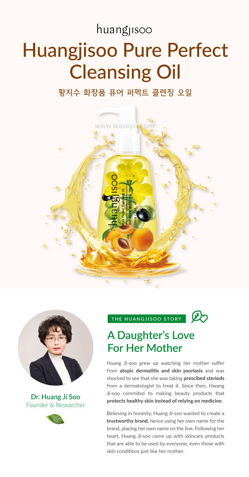 Introducing Huangjisoo Pure Perfect Oil, made with organic ingredients that is super gentle on your skin. The brand is created by Ms Huang Ji Soo, out of love for her mother when she was suffering from psoriasis. As Ms Huang Ji Soo was unable to find a product in the market that was suitable, she set out to create her own range of products that were suitable for her mother and everyone who is suffering from sensitive skin!