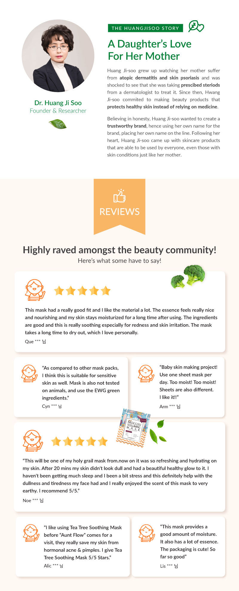 Dr. Huang Ji Soo created the brand Huangjisoo out of love and dedication for her more that had super sensitive skin. She has strived to create not only skincare that is organic but also effective. Check out our reviews from the beauty community!