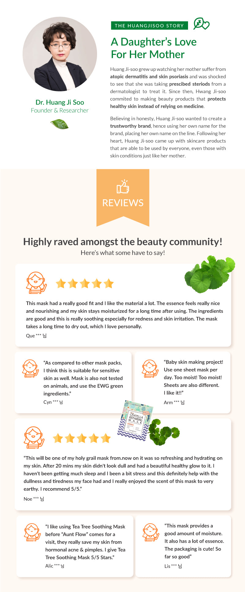 Dr. Huangjisoo created the brand Huang Ji Soo out of trying to help her mother. Not only the skincare were created with organic ingredients for sensitive skin but also with skin problems. Check out our reviews that have tried the mask before!