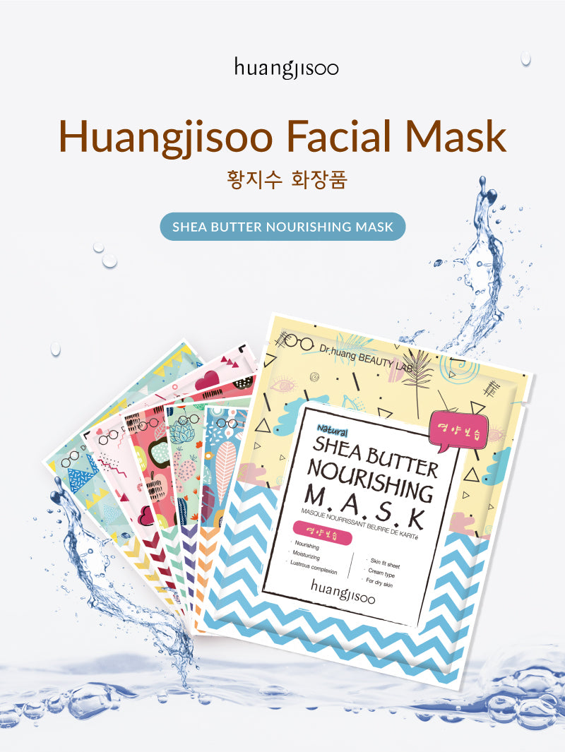 Huangjisoo Shea Butter Nourishing Facial Mask Sheet is made by Dr. Huang Ji Soo in her Beauty lab. It was created out of love for her mother that had sensitive skin. There are 6 different types to select from