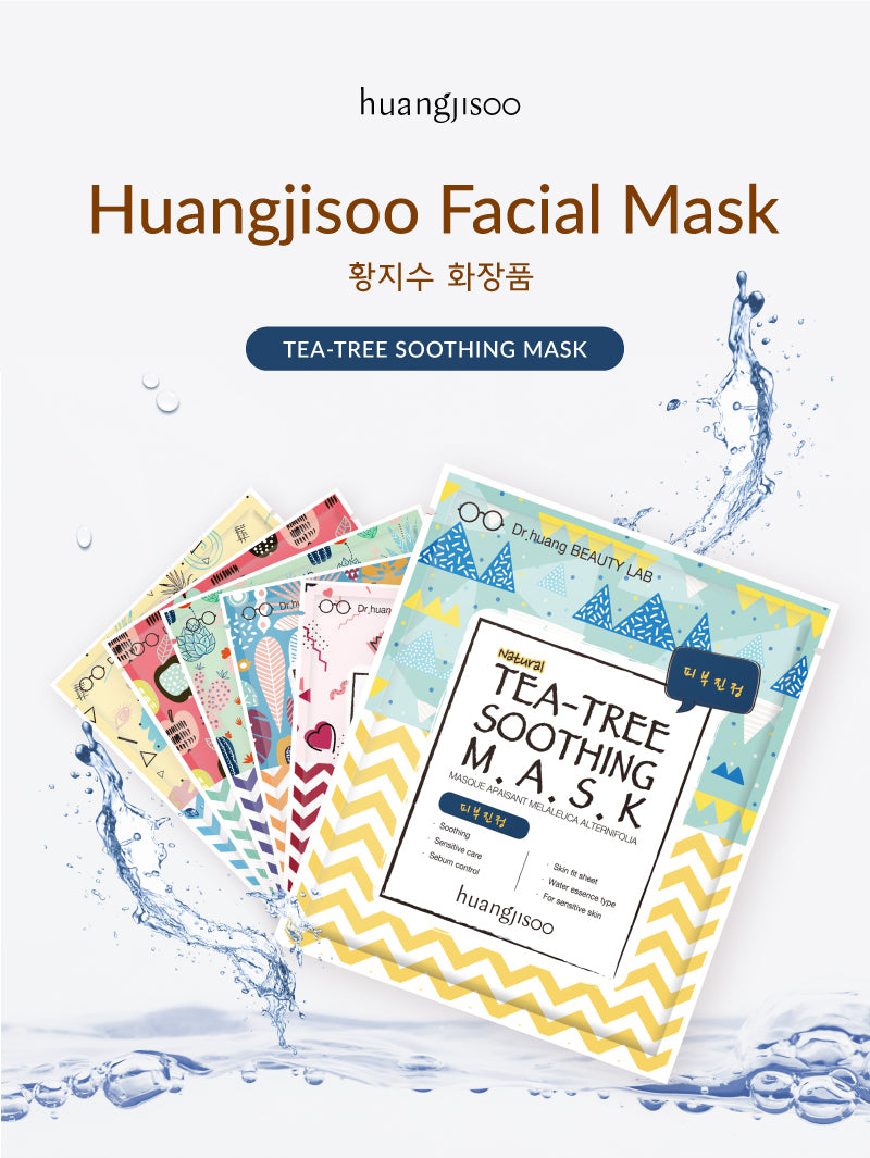 Huangjisoo Tea Tree Soothing Mask is made by Dr. Huang Ji Soo in her Beauty Lab in Korea. It is Organic and highly effective. There are 6 different types for all sensitive skin types