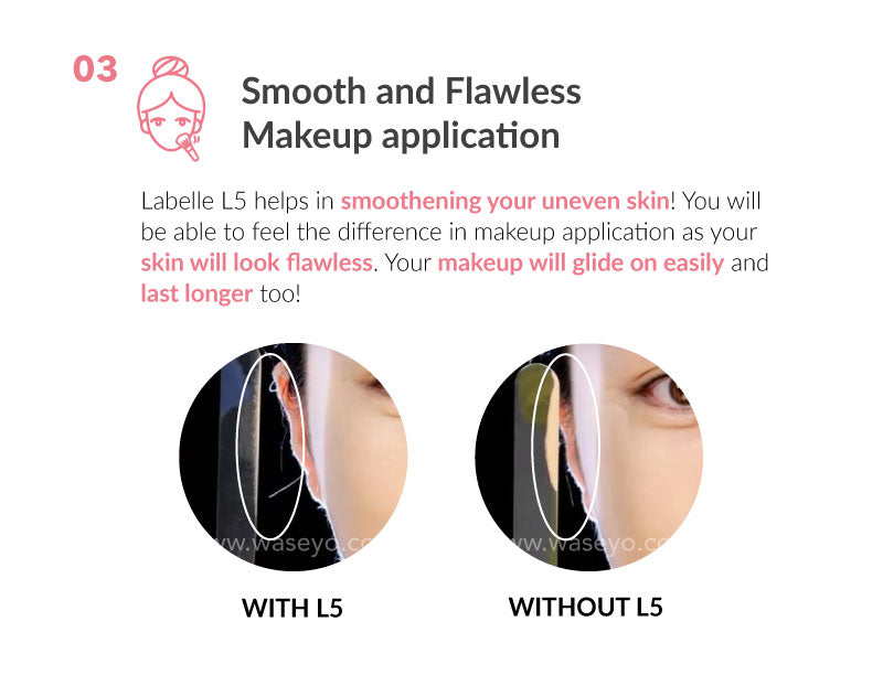 How to improve uneven skin texture? Labelle L5 helps in smoothening your uneven skin. Feel the difference in your makeup application, as your makeup will glide on easily and last longer.