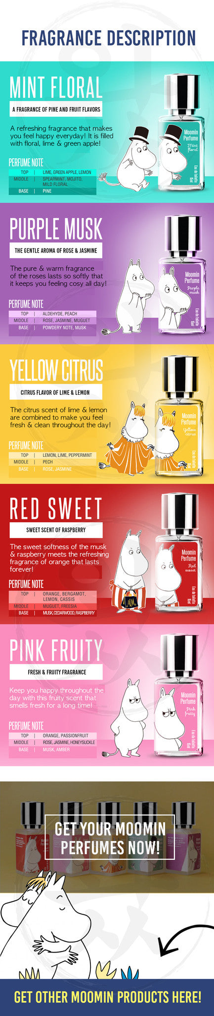 Check out the different scents our Moomin Spray Perfumes have to offer!