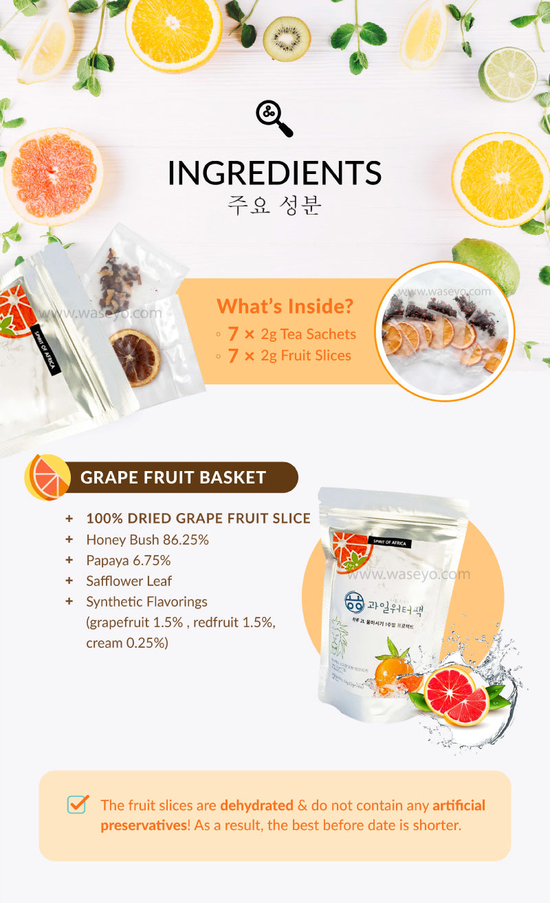 MyWater Detox Fruit Tea Ingredients! Grapefruit