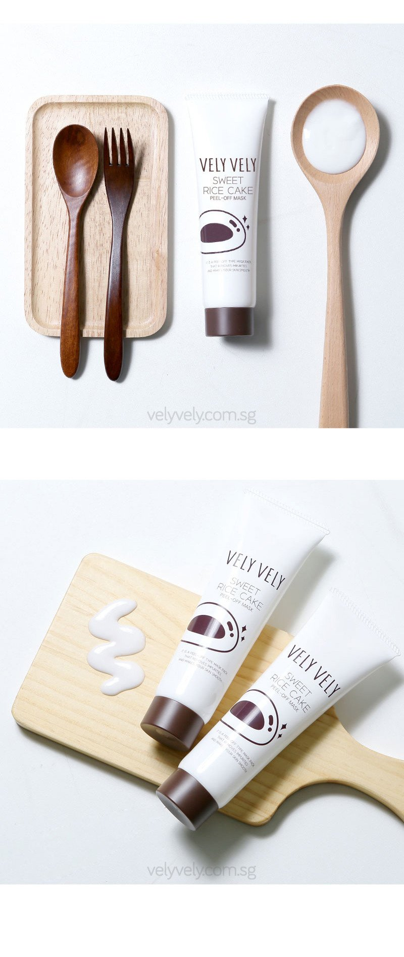 Korea's Cosmetic Brand, Vely Vely Sweet Rice Cake Peel-Off Mask flatlays