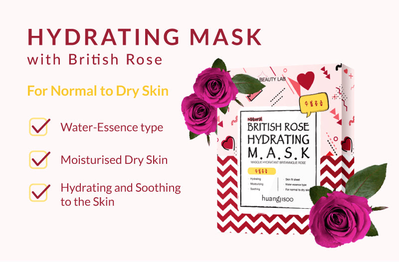 Hydrating Facial Mask sheet British Rose Great for Dry Skin!