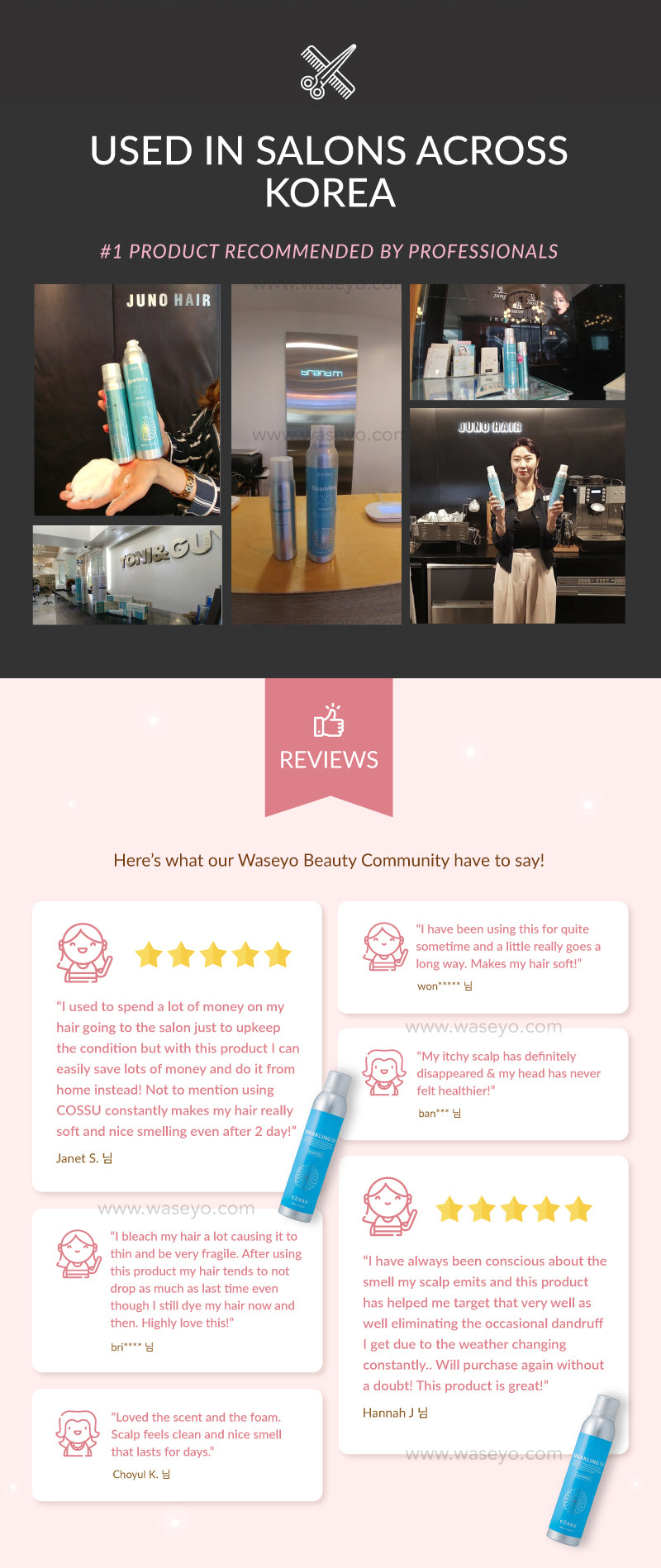 No.1 Product recommended by Korea Professional Hair Salons! Used by top chain hair salons like Juno Hair, Toni and Guy etc. Check out the reviews by our beauty community in Korea!