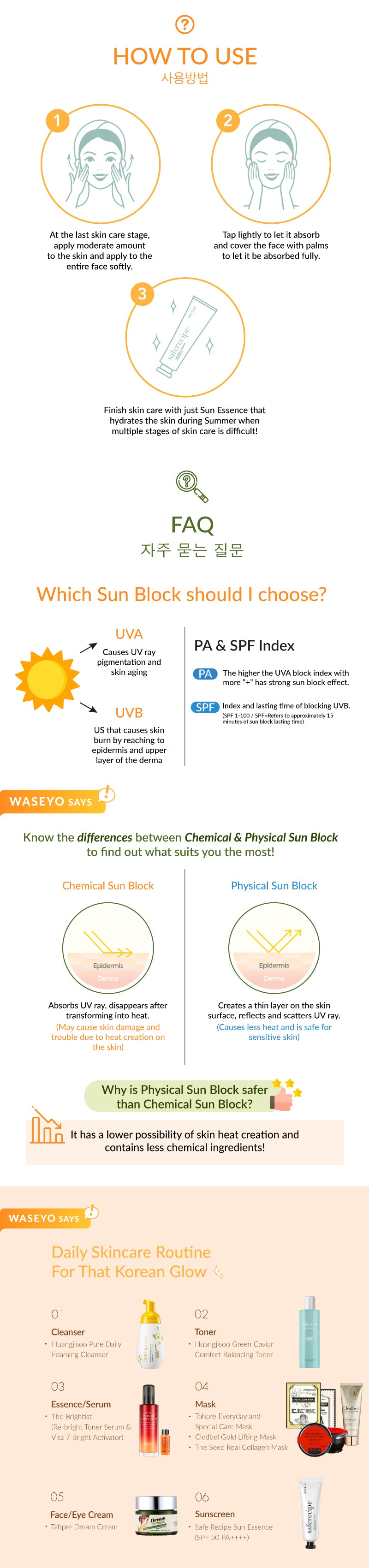 Here is How to use the sun block! You can simply apply it as the last step of your skincare and tap it to absorb into your skin!