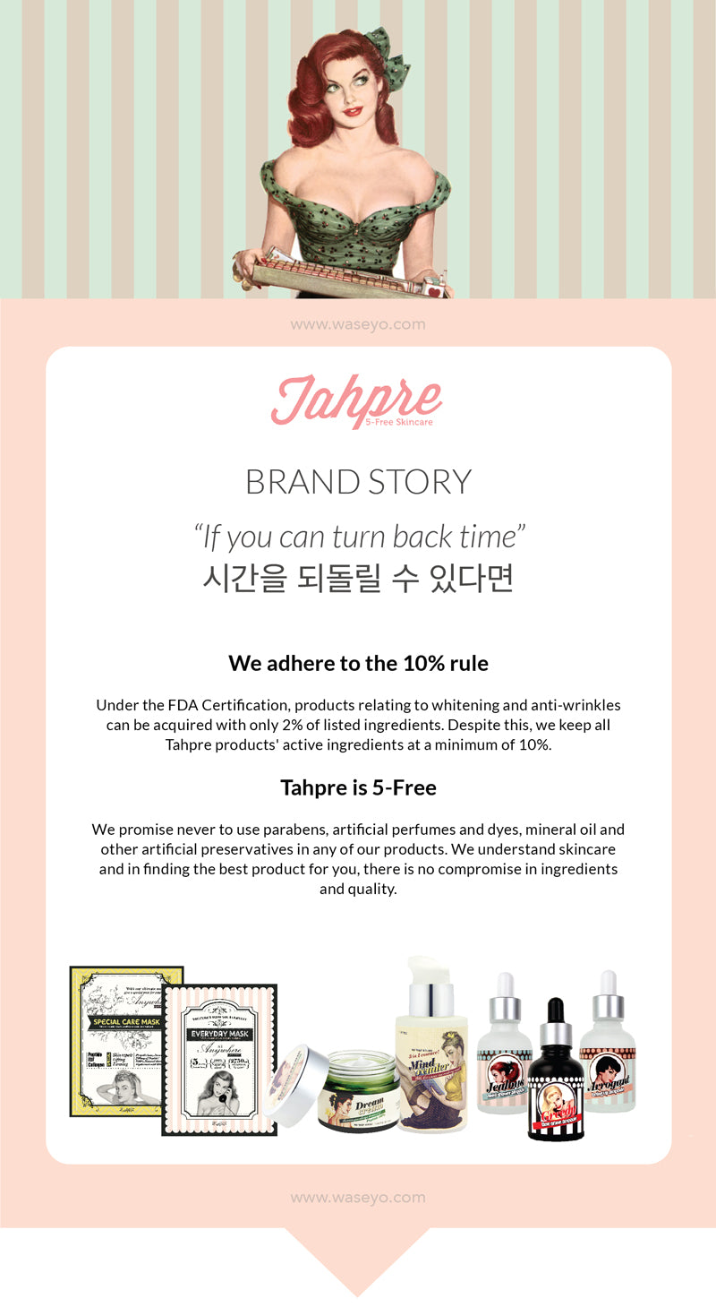Tahpre Brand Story. Dream Cream contains active ingredients of at least 10%. Consisting of peptides. Tahpre is also 5 free, never to use parabens, artificial perfumes and dyes, mineral oils, and artificial preservatives