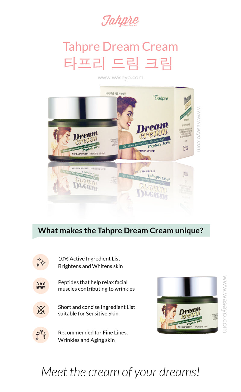 Dream Cream is formulated with 10% Active Ingredients for anti wrinkle treatment. Best eye cream for wrinkles and best anti aging cream. Recommended for remove wrinkle, prevent wrinkle, reverse aging. Peptide help with relax facial muscle, and remove under eye wrinkles, neck wrinkles, fine lines.