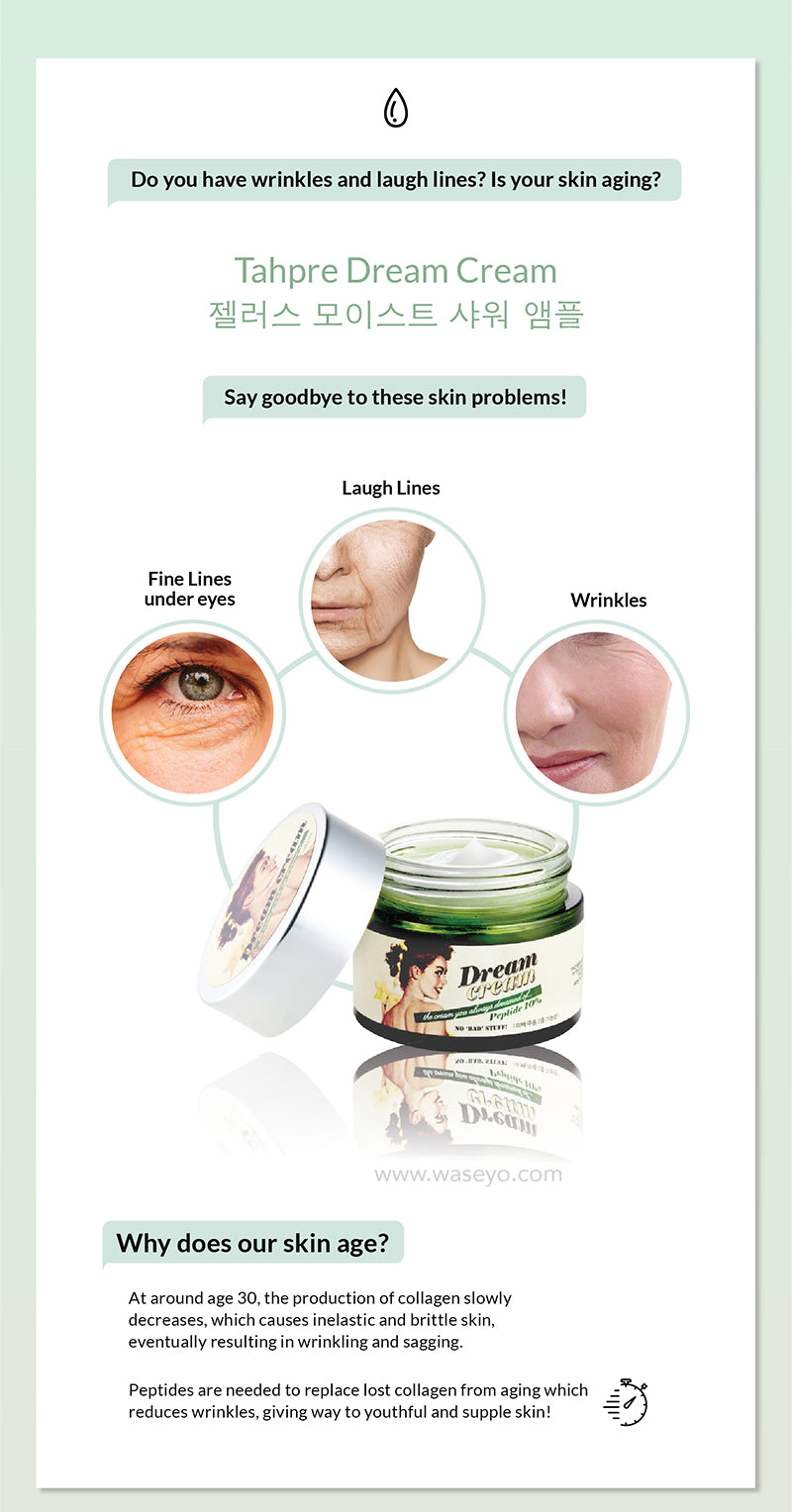Say goodbye to aging skin with best anti aging cream Tahpre Dream Cream. Why does our skin age? Production of collagen slows and and results in inelastic skin and hence wrinkle and sagging. Peptides are required to replace lost collagen for anti aging and wrinkle treatment.