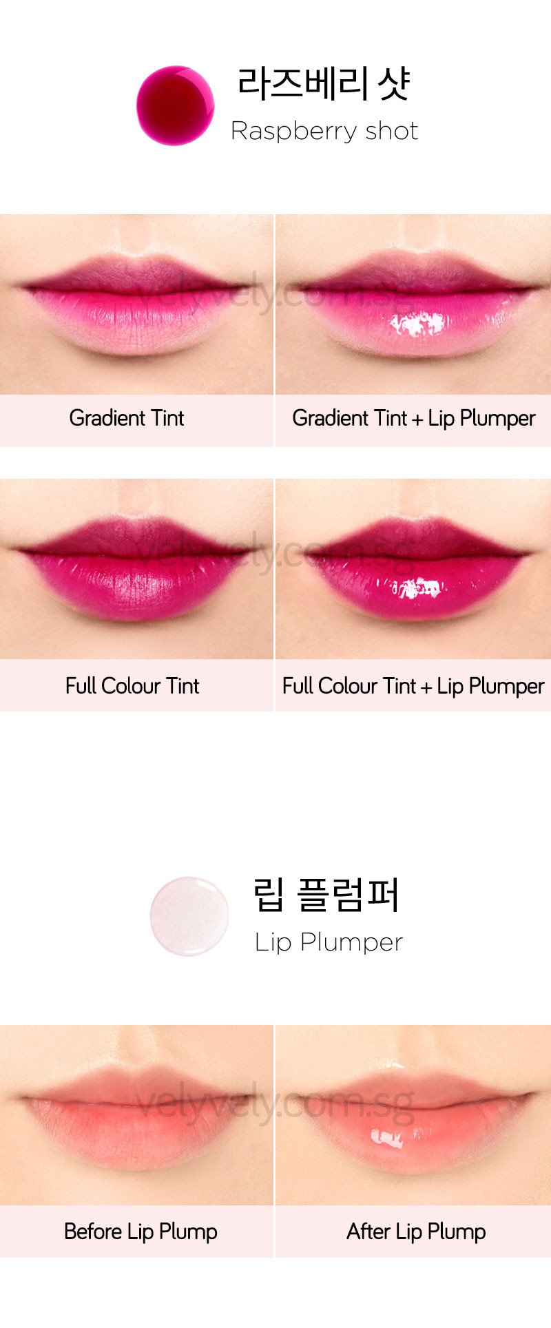 Before and after use of Korea's Cosmetic Brand, Vely Vely Water Tint Lip Plumping Duo