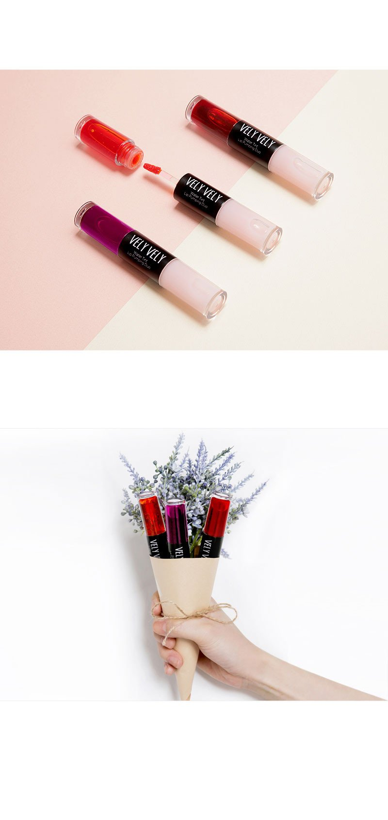 Flatlay of Vely Vely Water Tint Lip Pumping Duo