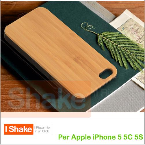 COVER CUSTODIA LEGNO BAMBOO BAMBU' WOOD SKIN PER APPLE IPHONE 5 5S