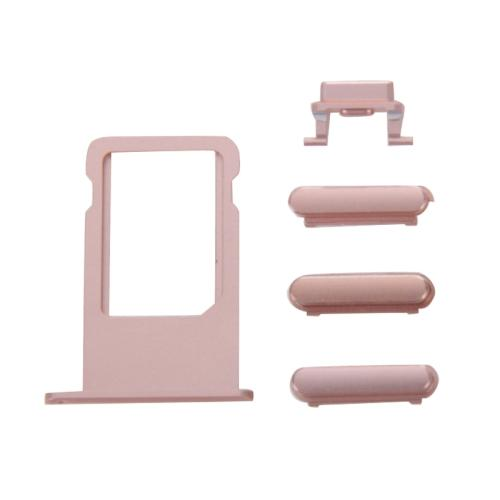 SET 4 TASTI VOLUME ON OFF + SLOT PORTA SCHEDA SIM CARD COMPATIBILE CON APPLE IPHONE 6S ROSA ORO