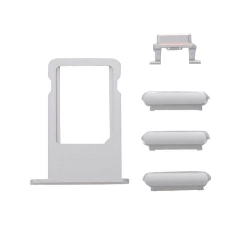 SET 4 TASTI VOLUME ON OFF + SLOT PORTA SCHEDA SIM CARD COMPATIBILE CON APPLE IPHONE 6S GRIGIO SILVER