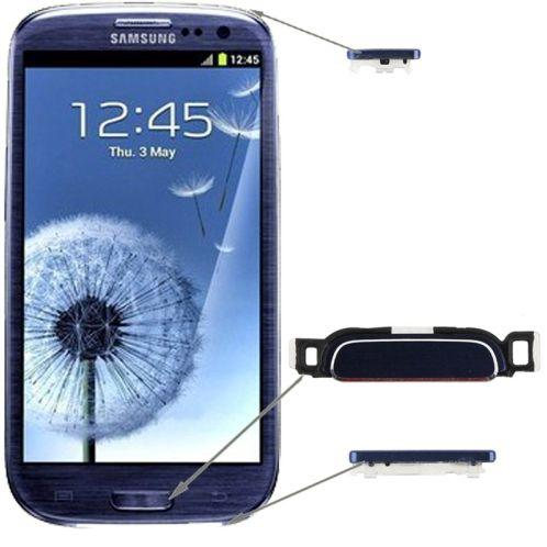 TASTI VOLUME ACCENSIONE PER SAMSUNG GALAXY S3 I9300 BLU SCURO DARK COMPATIBILE