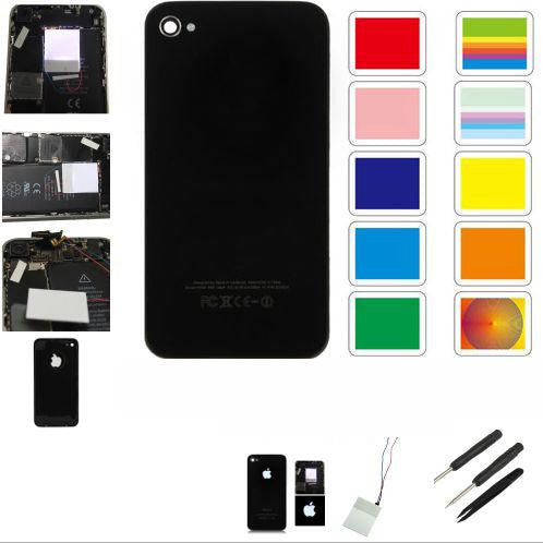 RETRO COVER VETRO SCOCCA RICAMBIO APPLE IPHONE 4 NERO LOGO LUCE LUMINOSO KIT - BOMAItalia.com