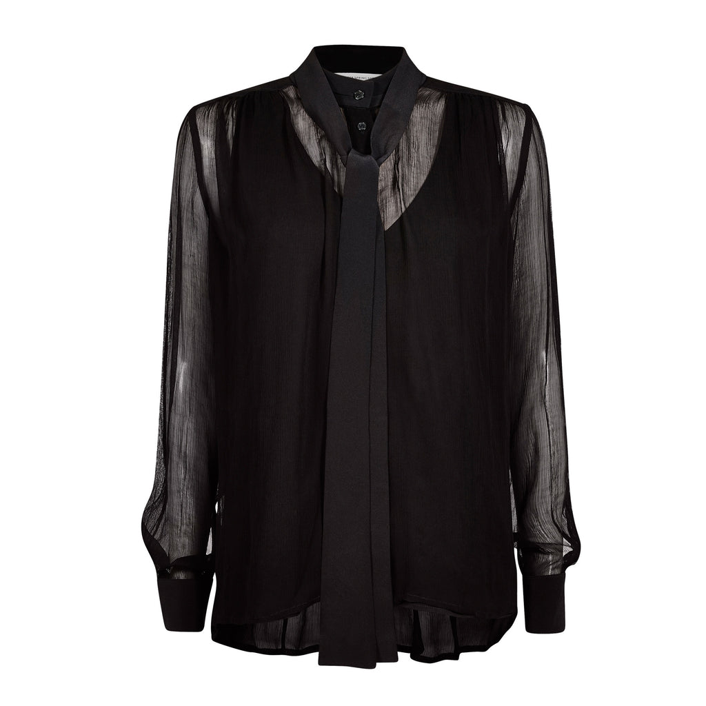 FWSS Don´t Know is a sheer chiffon shirt with detachable tie detail at neck.