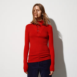 89c84ed3425 FWSS Night Vision is an ottoman knit merino sweater with a button down mock  neck and
