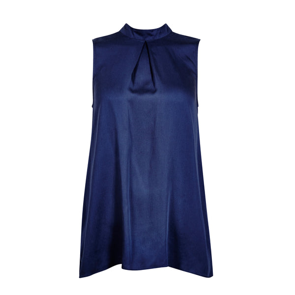 FWSS S.I.B. is a light, super soft sleeveless top with mock neck and silver button closure at back.