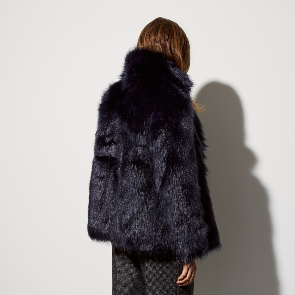 Smart patrol faux fur jacket Total eclipse blue