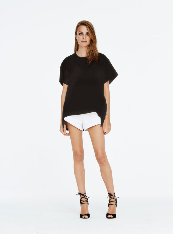Relaxed t-shirt with fringing detail on the side