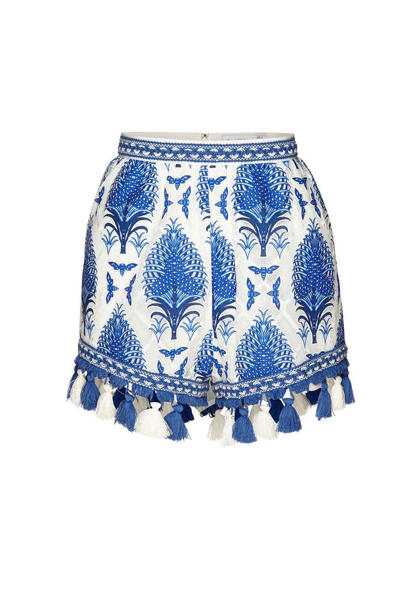 These shorts have been crafted from bespoke alice McCALL fabric that has been woven to create a one off pattern. Cut for a fitted shape around the waist, this breezy pair flows over the hips to create a flattering look. Finished with coloured tassles and patterned bands, this style oozes a relaxed vibe. For a stand out look, pair with the 'C'est Chic' crop top and some sandals.