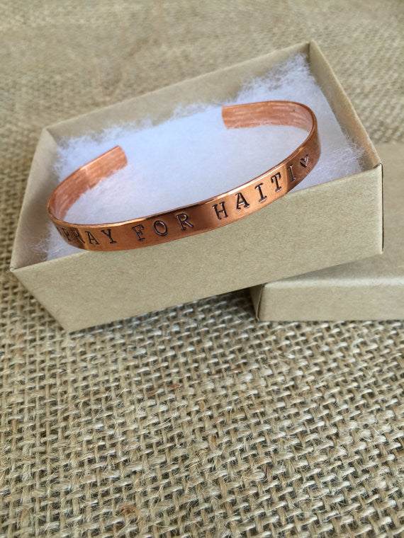 """Pray For Haiti"" or insert your own country. Bracelet"