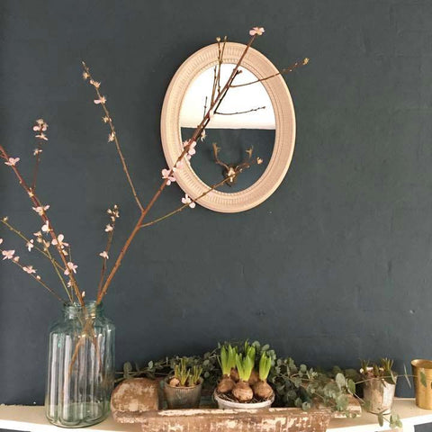 Rustic Stone White Oval Mirror