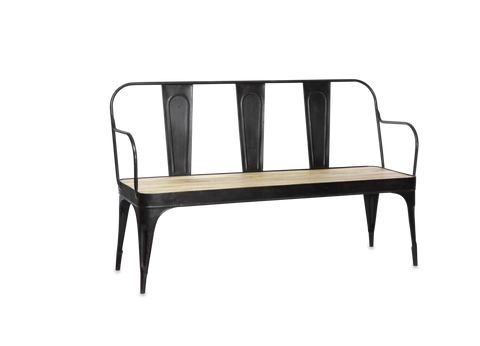 Metal and Mango Wood Industrial Bench
