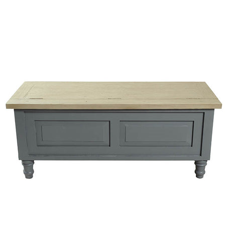 Vintage Grey Wooden Storage Bench