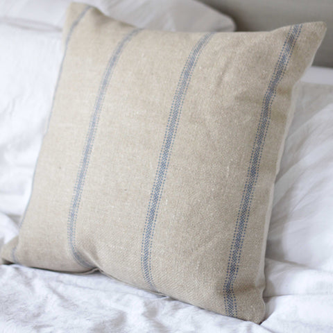 Hessian Cushion - Blue Striped