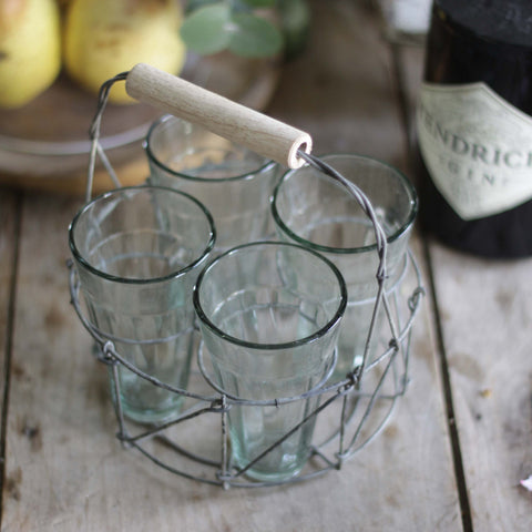 Picnic glasses in holder