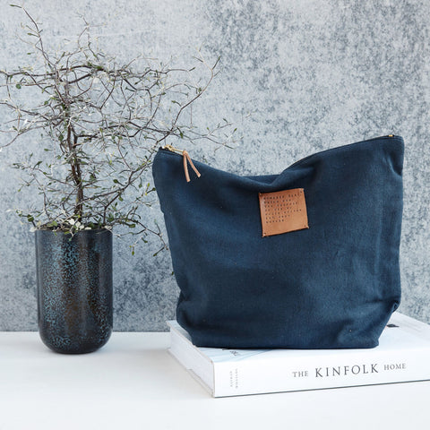 Dark Blue Linen Wash Bag