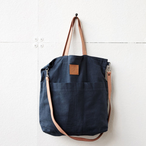 Linen Tote Bag - Solid Blue