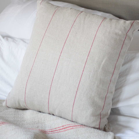 Hessian Cushion - Red Striped