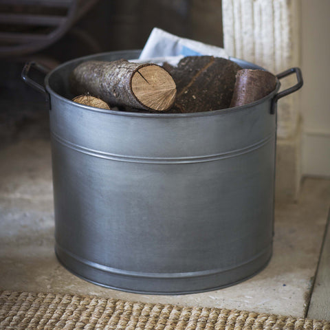 Vintage Style Metal Log Container