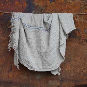 Natural Linen Throw - Blue Stripe