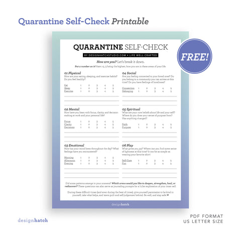 Quarantine Self-Check Worksheet