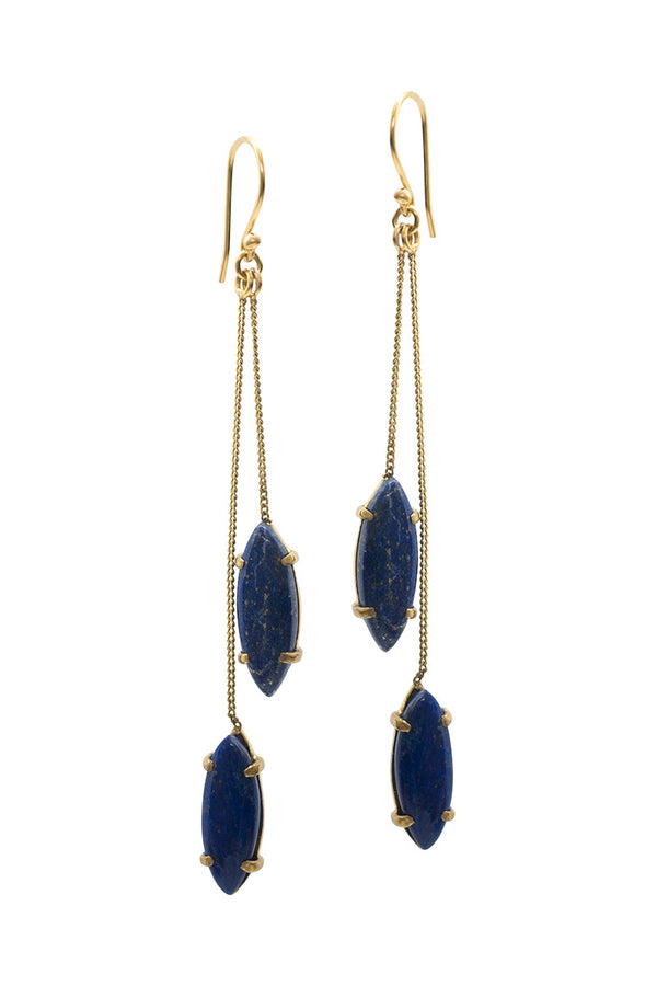 BLOSSOM EARRINGS - LAPIS LAZULI - TULLE AND BATISTE